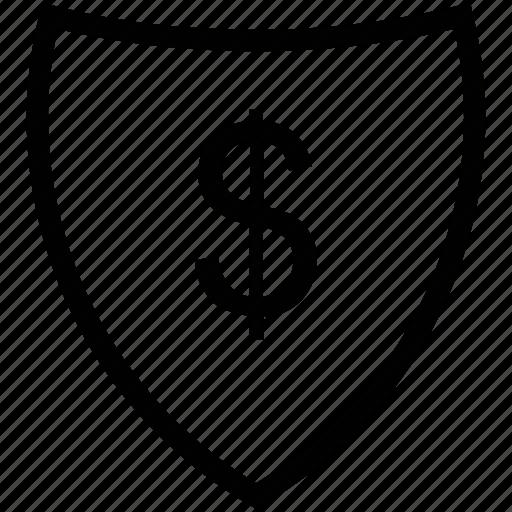 achievement, dollar sign, performance, progress, shield, winning icon