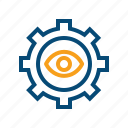 access, assumption, autocorrect, autodetect, concentrate, concentration, correction, detect, diagnostic, diagnostics, eye, focus, hypothesis, investigate, monitoring, permission, privacy, search, status, visibility icon