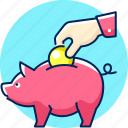 bank, deposit, finance, money, save, save money icon