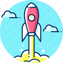 business, launch, marketing, rocket, space, startup icon