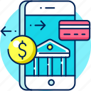 mobile, money transfer, payment, mobile banking icon