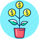 business, finance, growth, money, money tree, tree icon