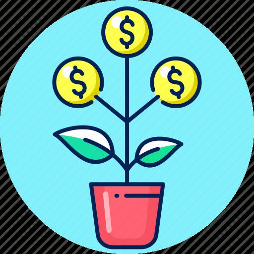business, finance, growth, money, money tree, tree icon