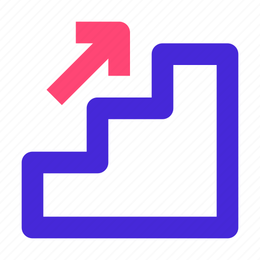 arrow, business, grow, management, progress, stair, up icon