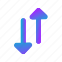 blue, down, grade, position, rate, up icon