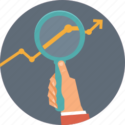 analyze, business, graph, hand, magnifier, strategy icon