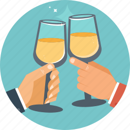 business, celebration, champagne, glass, hand icon