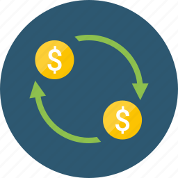 cash, cashback, currency, deal, dividends, dollar, earnings, exchange, fee, money, movement, overdraft, plowback, rates, refund, reinvestment, transaction, transfer, turnover icon