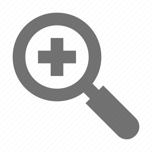 magnifying glass, plus sign, search, zoom in, zooming icon