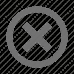cancel, close, cross sign, delete, dismiss icon
