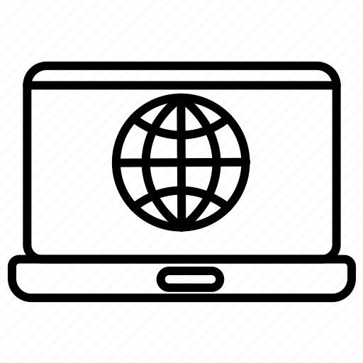 globe, internet, laptop icon