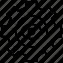 eye, gear, setting icon