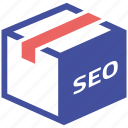 online, packages, seo, social market, web page icon