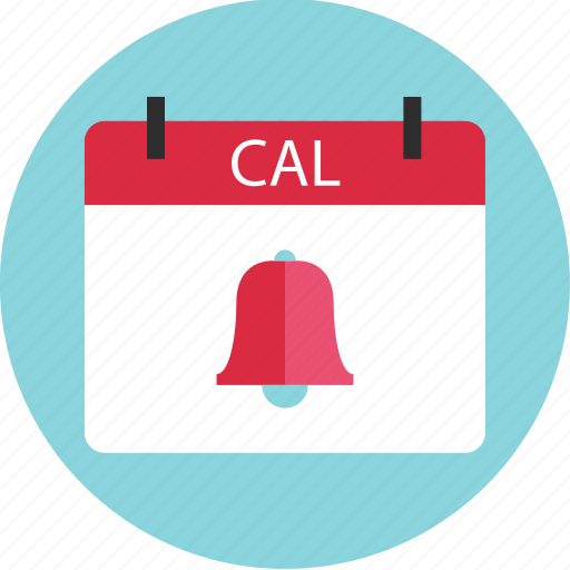 bell, cal, calendar, event, online, reminder, schedule icon