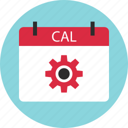 appointment, cal, calendar, event, gear, options, setup icon