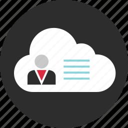cloud, code, data, description, profile, user icon