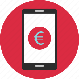 cell, coin, currency, euro, mobile, phone, sign icon