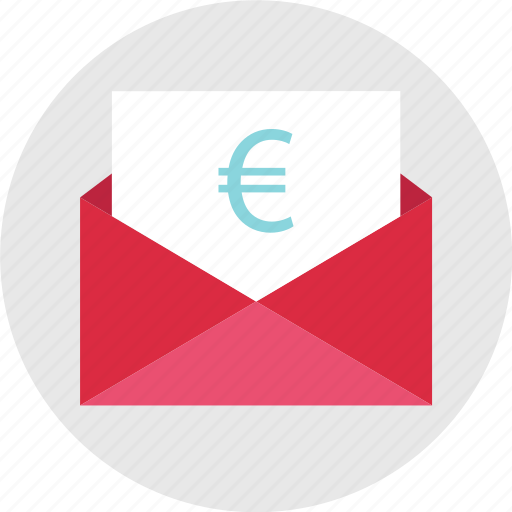currency, email, envelope, euro, mail, money, sign icon