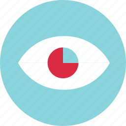 chart, circle, eye, find, look, pie, search icon