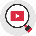 find, look, magnifiery, search, videos, youtube icon