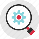 gear, look, magnify, options, search, setup, work icon