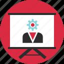 board, gear, learn, option, setup, teach, work icon
