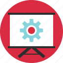 board, gear, online, options, setup, teach, work icon