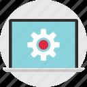 gear, laptop, online, options, setup, web, work icon