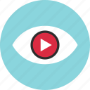 eye, find, look, play, search, video, youtube icon