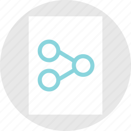 circles, connection, data, document, moment, page, share icon