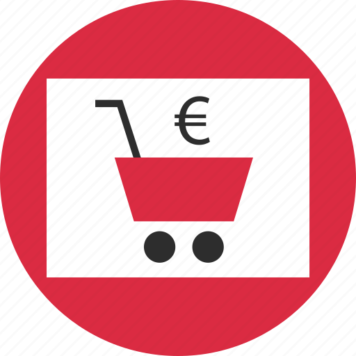 cart, currency, euro, online, shopping, sign, web icon