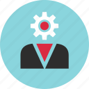 boss, gear, person, profile, staff, user, work icon