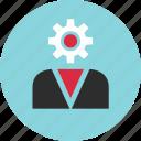 boss, gear, person, profile, staff, user, work