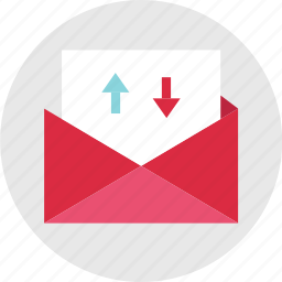activity, arrows, down, email, envelope, mail, up icon
