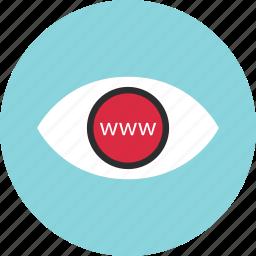 eye, find, look, online, search, web, www icon
