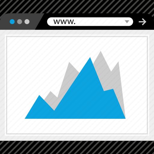 analytics, arrow, web, www icon