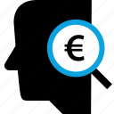 euro, mind, search, sign icon