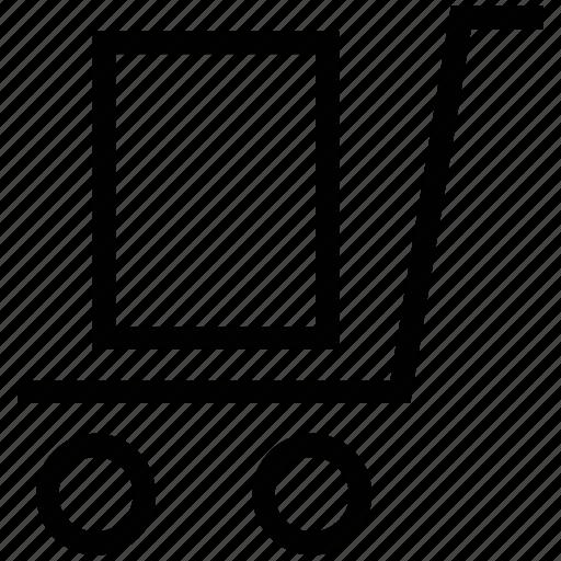 export, hand trolley, hand truck, handcart, package, platform truck, warehouse icon