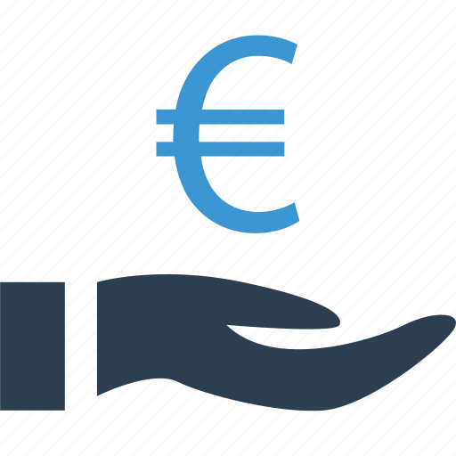 currency, euro, holding, sign icon