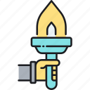 flame, leadership, light, torch icon