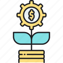 growth, money, money plant, money tree icon
