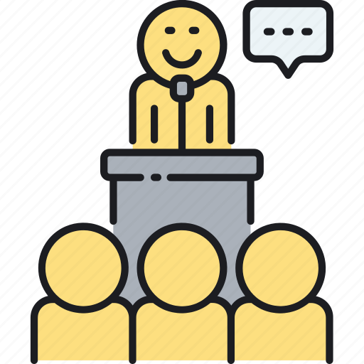 Seminar, speaker, speech, talk icon - Download on Iconfinder