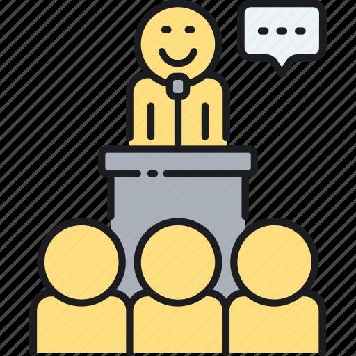 seminar, speaker, speech, talk icon
