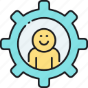 personal skills, setting, support icon