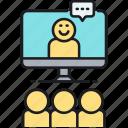 conference, seminar, video, webinar icon