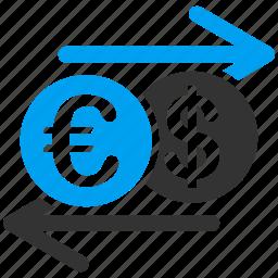 bank business, currency exchange, dollar, euro, finance, forex market, money change icon
