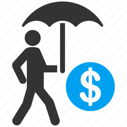 american dollar, finance, financial insurance, protection, safety, shield, umbrella icon