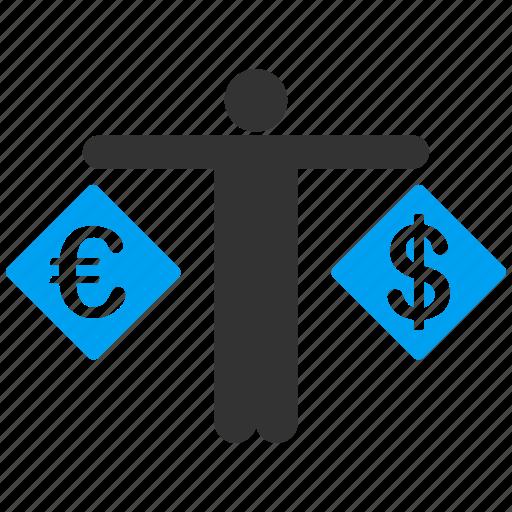 balance, compare, dollar, euro, finance, measure, person icon