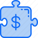 business, financial, issues, money, problems, puzzle, worries icon