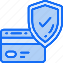 business, credit, secure, shield, tick icon